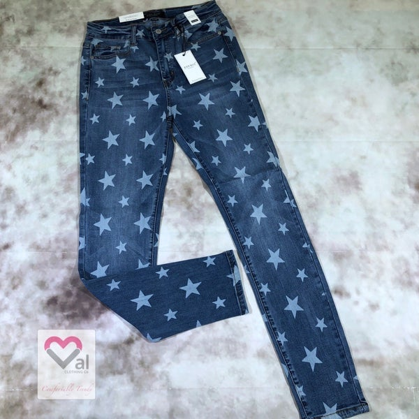 Judy Blue High Rise Star Print Skinny Jeans