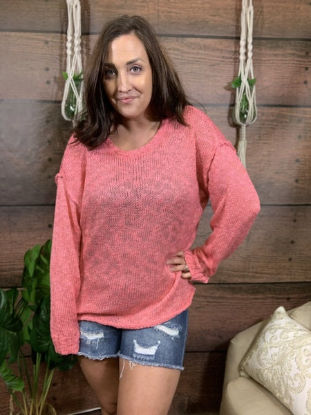Long Sleeve Open Knit Sparkle Top