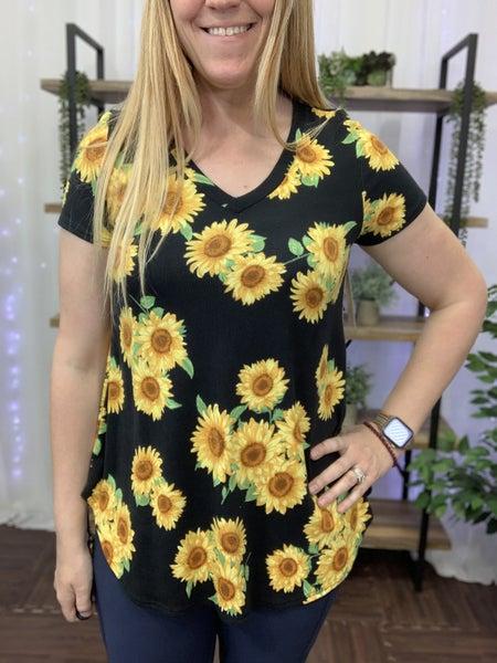 Short Sleeve V Neck Sunflower Print Top