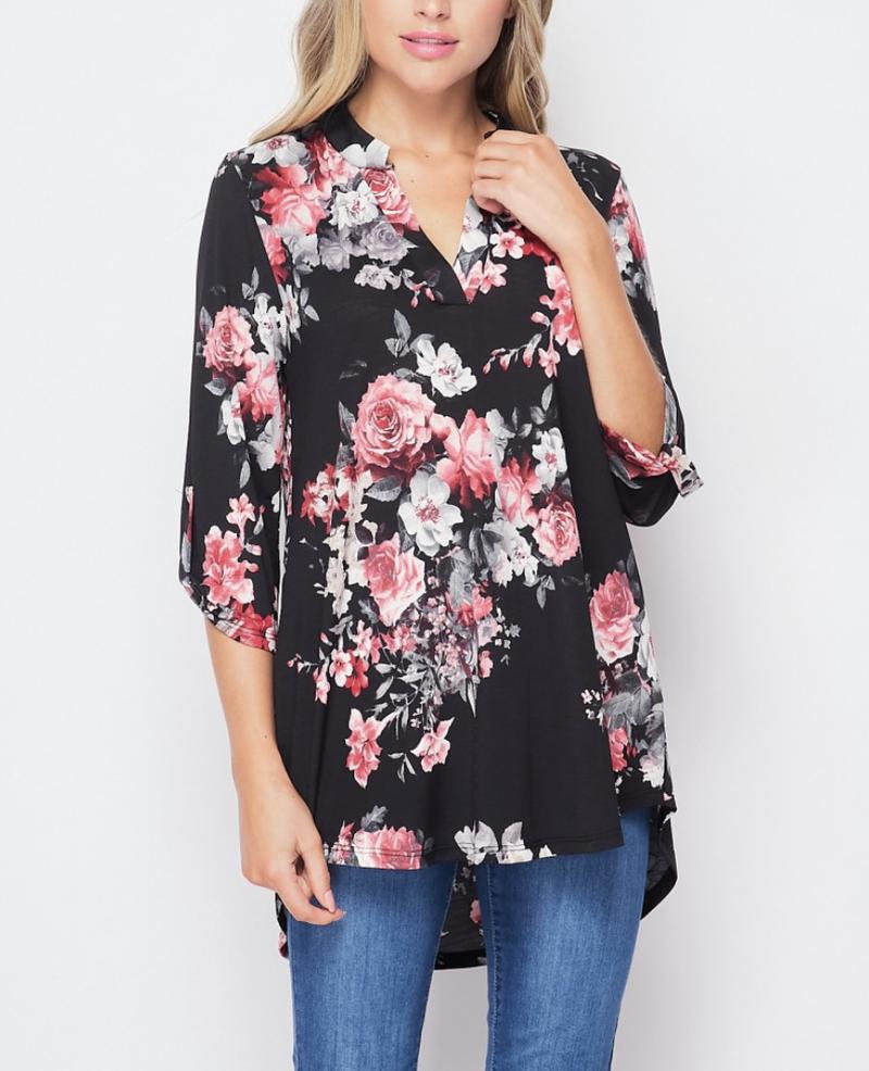 3/4 Rolled Sleeve Mock V Neck Floral Bunch Top