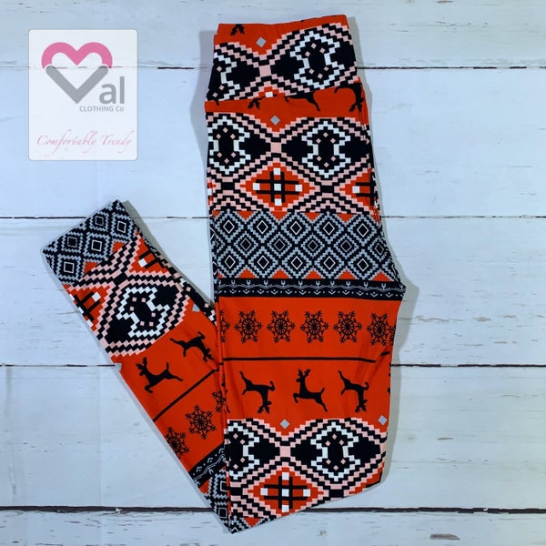 Red and Black Reindeer and Nordic Print Leggings