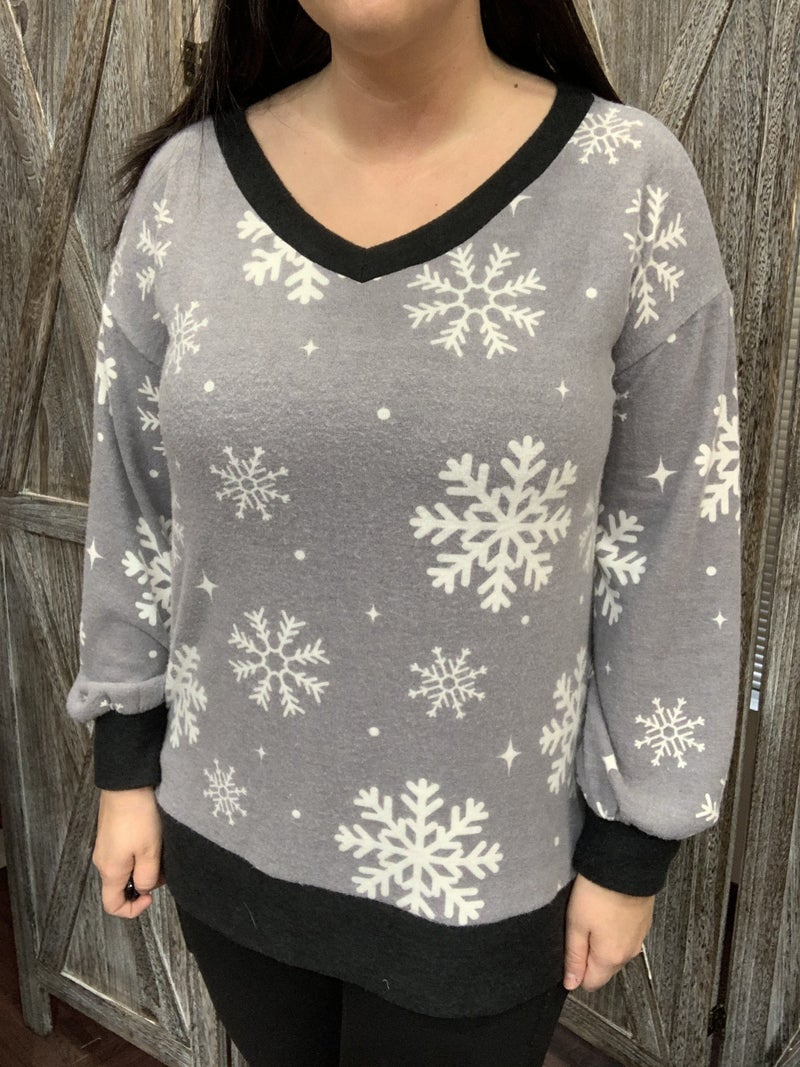 Long Sleeve V Neck Snowflake Print Top