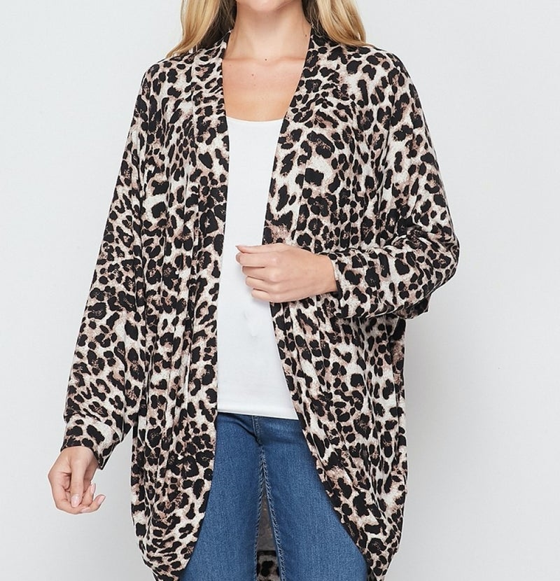 Long Sleeve Open Front Leopard Print Cardigan