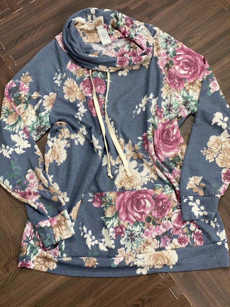 Long Sleeve Floral Cowl Neck Top