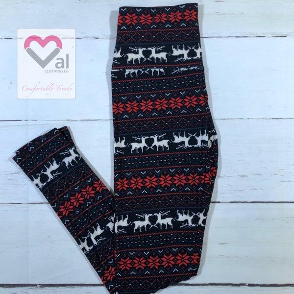 Black White and Red Reindeer Holiday Printed Leggings