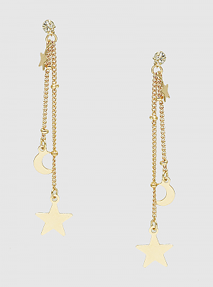 Celestial Crescent Moon And Stars Multi Linear Drop Earrings