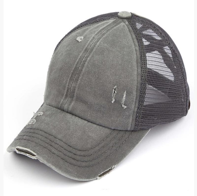 CC Solid CrissCross Ponytail Baseball Cap