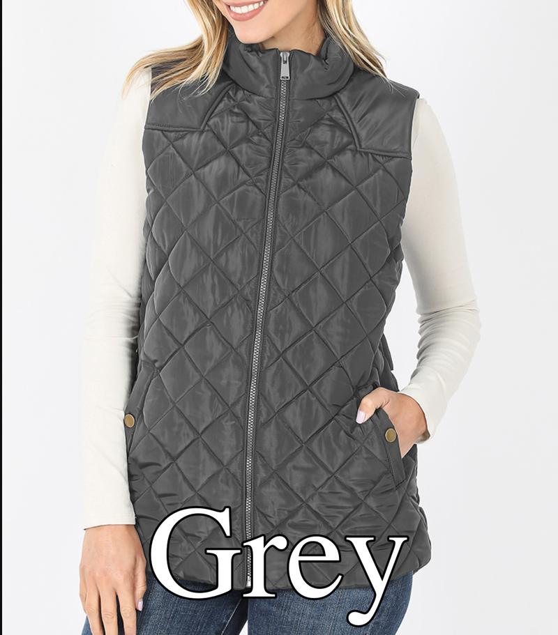 Solid Diamond Quilted Puffer Vest with Pockets