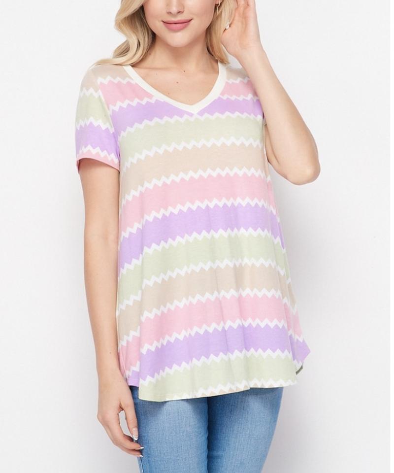 Short Sleeve V Neck Wavy Stripe Top