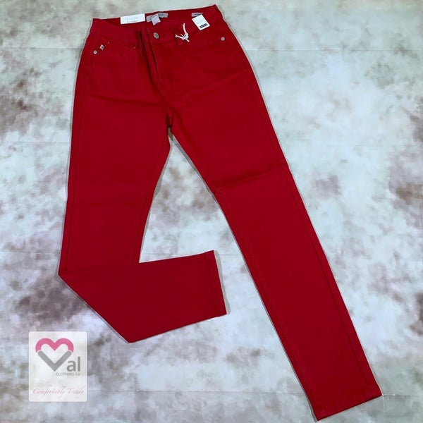 Judy Blue High Waist Solid Crimson Skinny Jeans