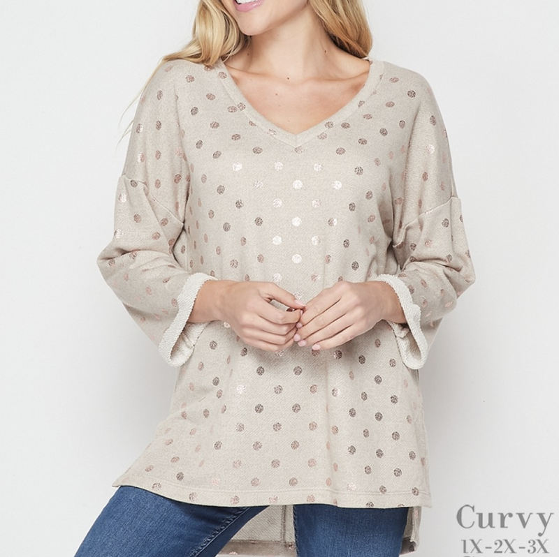 3/4 Rolled Sleeve V Neck Metallic Polka Dot Top