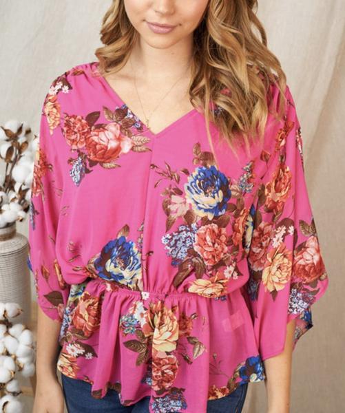 Short Sleeve V Neck Tropical Floral Print Top