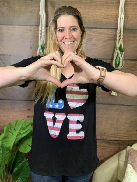 Short Sleeve Love American Flag Graphic Tee