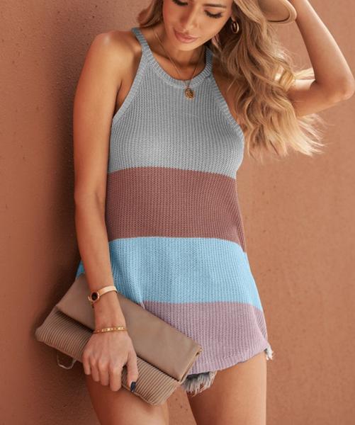 Halter Top Knit Colorblock Top