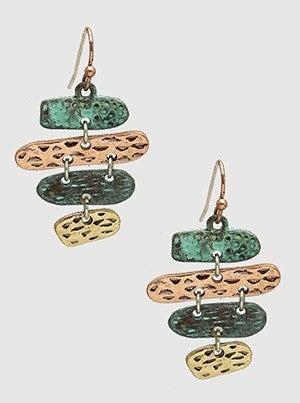 Textured Metal Organic Shape Dangle Drop Earrings