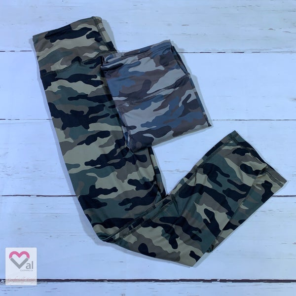 Full Length Camo Print Leggings with Yoga Band