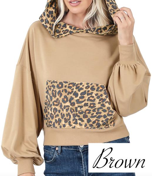 Long Bubble Sleeve Solid & Leopard Hoodie Top