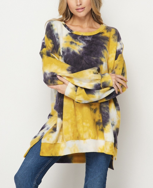 Long Bubble Sleeve Tie Dye Tunic Top with Side Slit