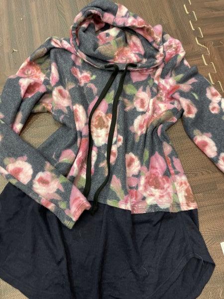 Long Sleeve Blurred Floral Hoodie Top
