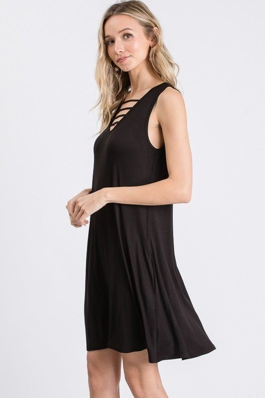 Sleeveless Solid Dress with Strappy Neckline Detail