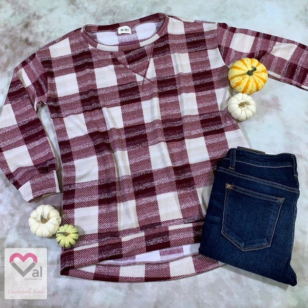Long Sleeve Round Neck Plaid Tunic Top