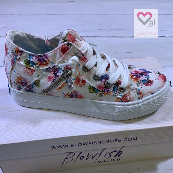 Blowfish Mid-Top Hidden Wedge Canvas Sneaker in White Floral