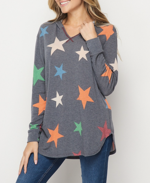 Long Sleeve Multicolored Star Print Hoodie Top
