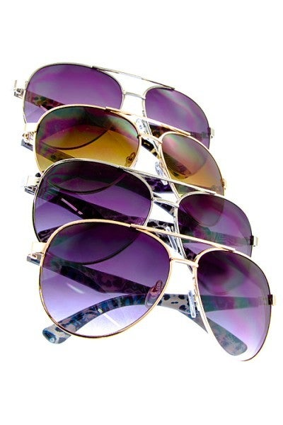 Aviator Sunglasses with Side Detail