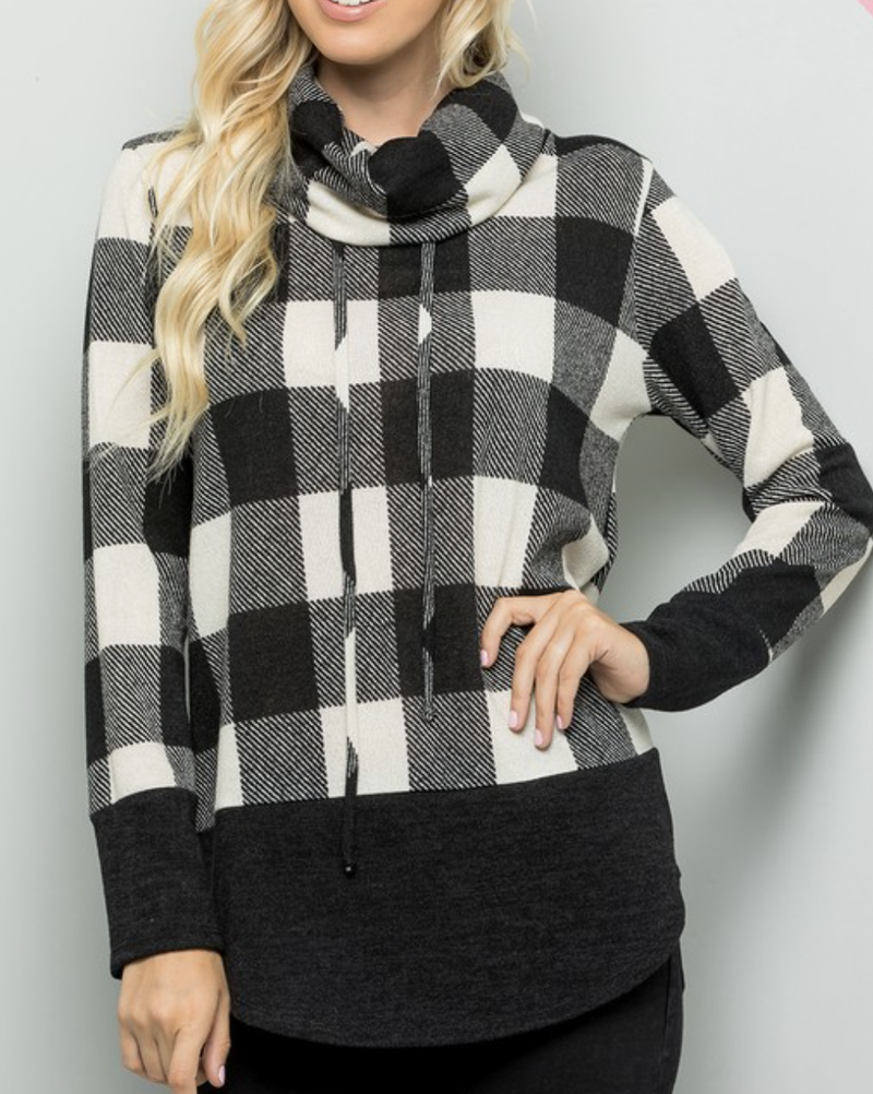 Long Sleeve Cowl Neck Plaid Top with Drawstring Detail