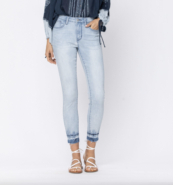 Judy Blue Light Wash Release Hem Skinny Jeans