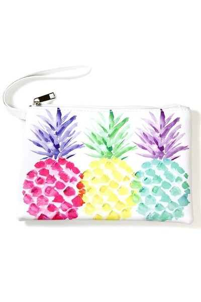 Printed Canvas Wristlet Pouch