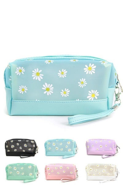 Daisy Printed Cosmetic Travel Pouch Bag