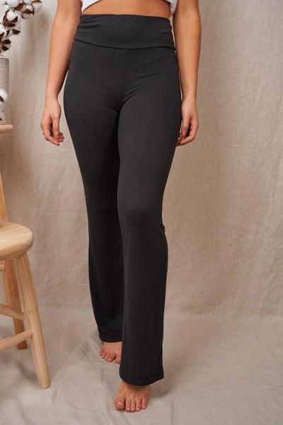 Solid Yoga Waist Bootcut Yoga Pants