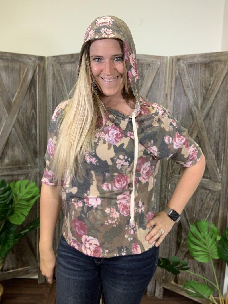 3/4 Dolman Sleeve Floral Hoodie Top