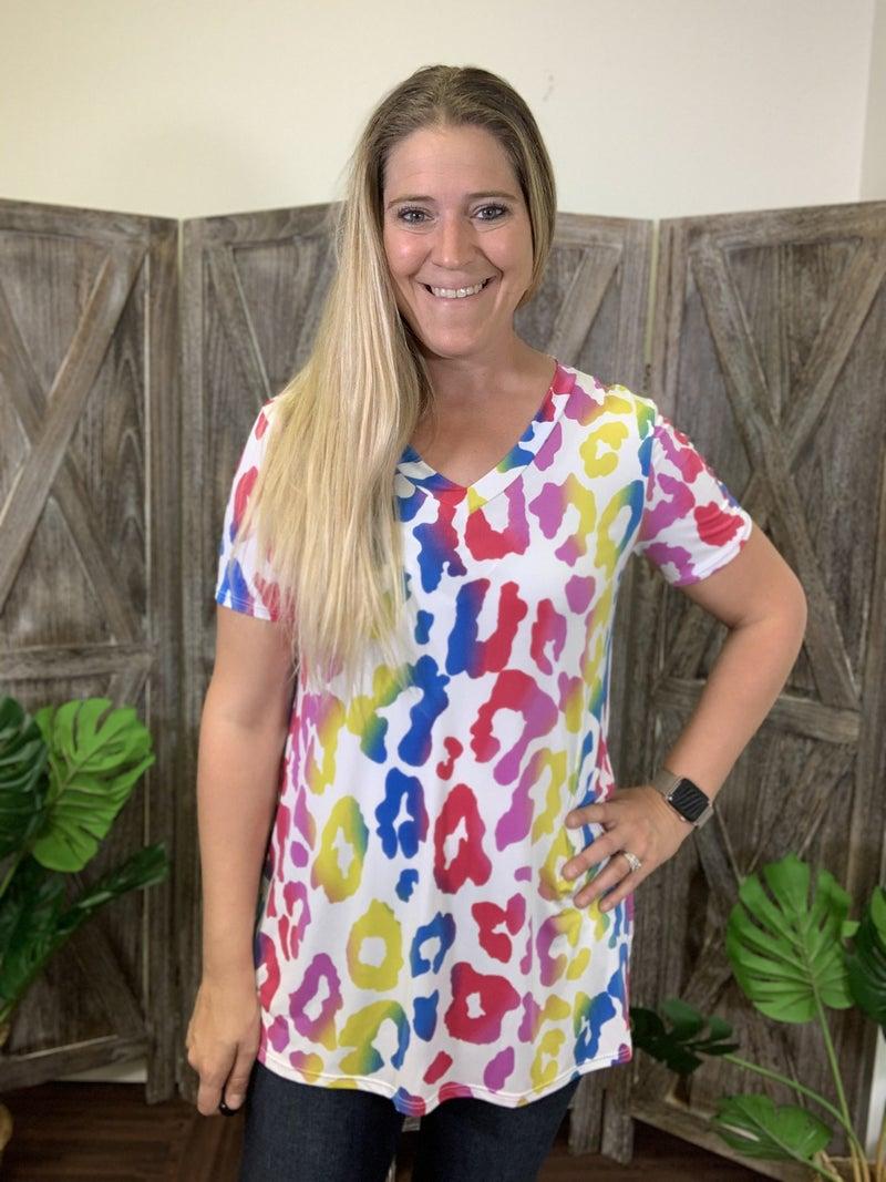 Short Sleeve V Neck Rainbow Leopard Print Top