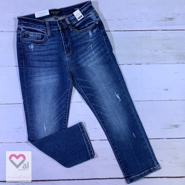 Judy Blue Mid Rise Slightly Distressed Capris