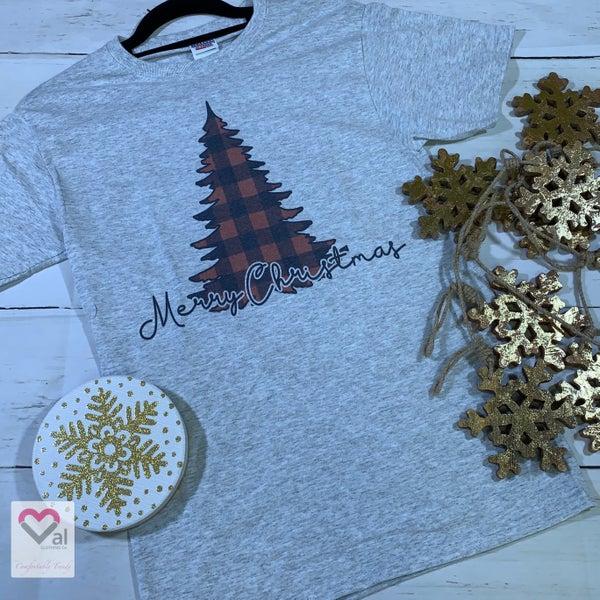 Merry Christmas Plaid Tree Graphic Tee