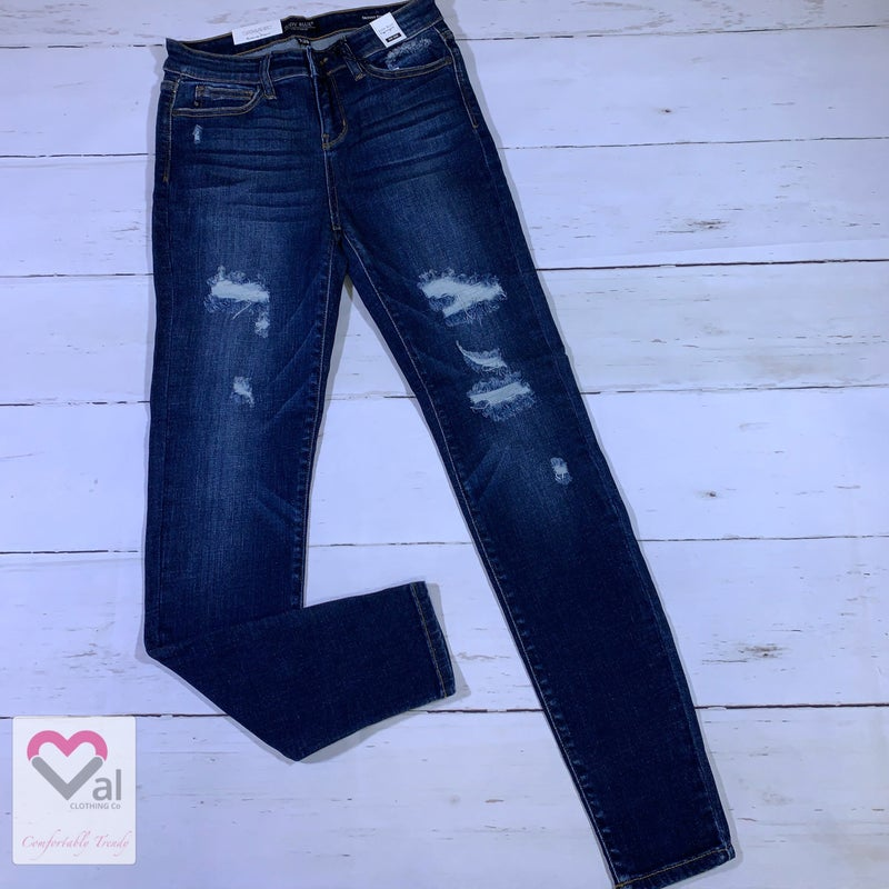 Judy Blue Mid Rise Fused Patch Destroyed Skinny Jeans