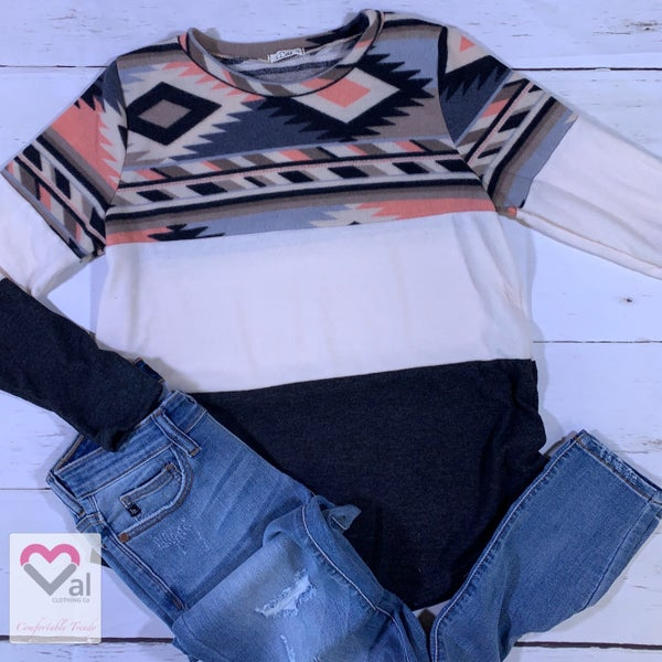 Long Sleeve Aztec and Solid Color Block Top