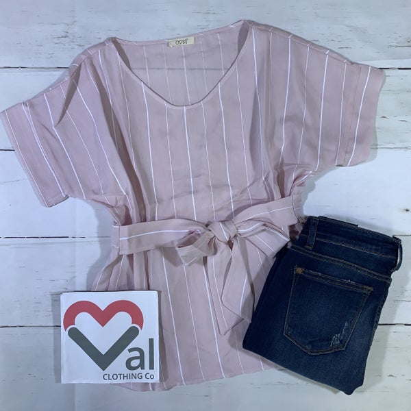 Short Sleeve Striped Top with Front Tie Detail