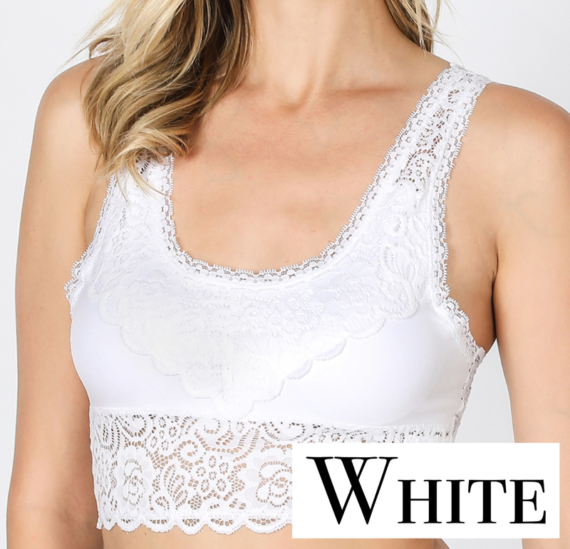 Seamless Stretch Lace Bralette Top with Removable Pads
