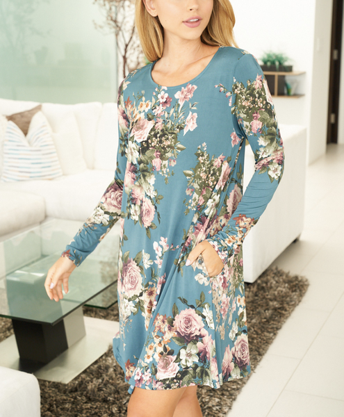 Long Sleeve Round Neck Floral Dress with Pockets