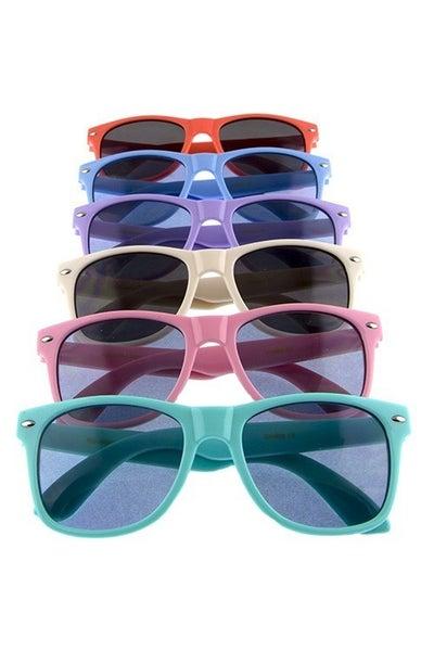 Kids Solid Horned Rim Sunglasses