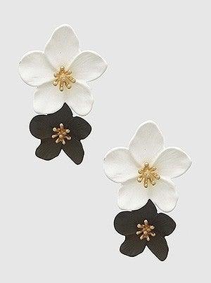 Two Tones Floral Flower Enamel Earrings