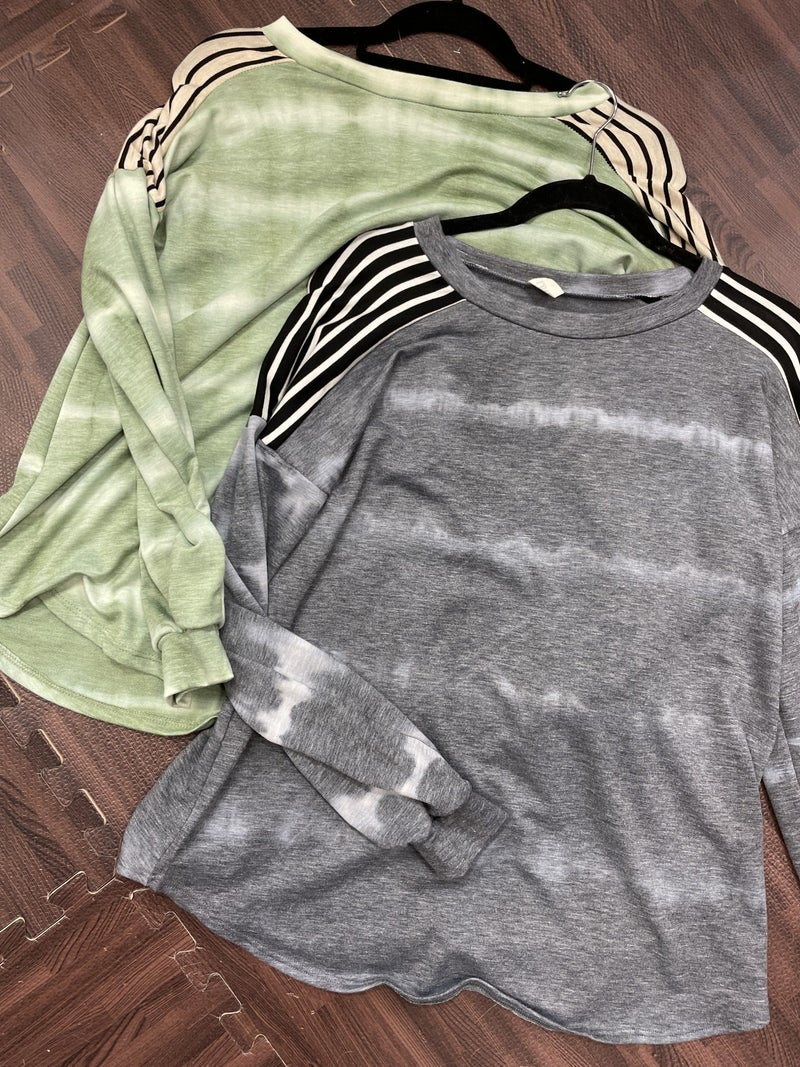 Long Bubble Sleeve Tie Dye Top with Stripe Detail