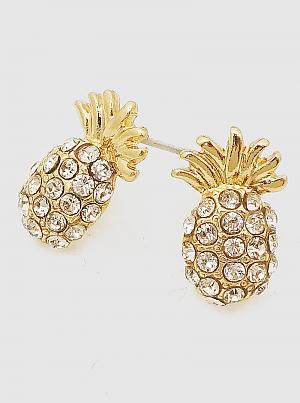 Pineapple Fruit Crystal Pave Stud Earrings
