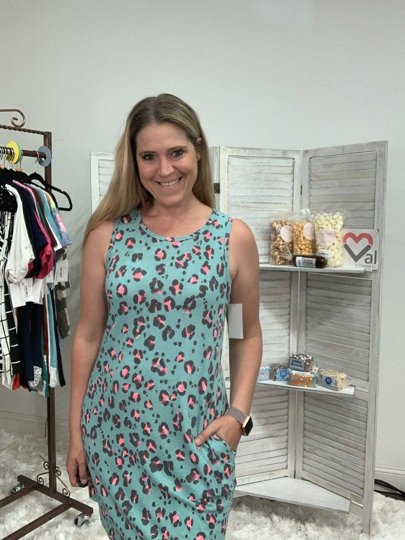 Sleeveless Mint Leopard Dress