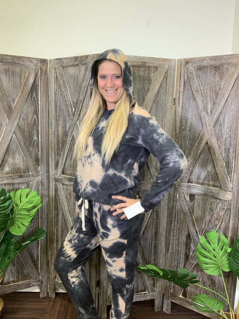 Long Sleeve Stormy Tie Dye Hoodie Top with Stitch Detail