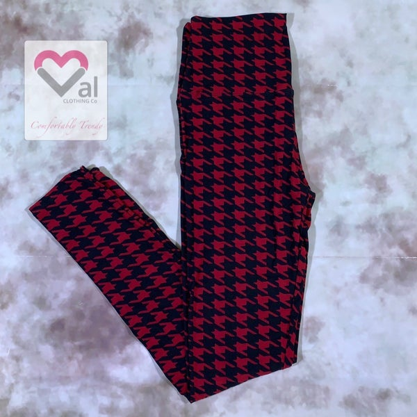 Red Houndstooth Printed Leggings