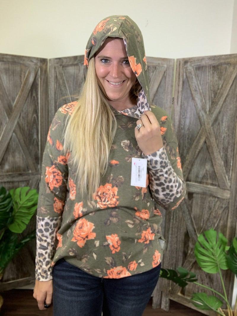 Long Sleeve Leopard and Floral Hoodie Top